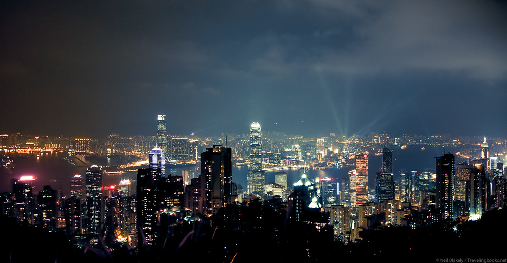 Hong Kong at night (Click for large version on Flickr